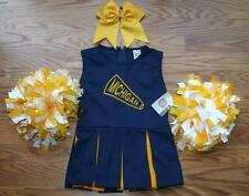 CHEERLEADER COSTUME OUTFIT HALLOWEEN MICHIGAN WOLVERINES U OF M POM POMS BOW 4T