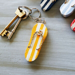 YELLOW Flip Flop Key Ring Hand Painted Wooden Party Bag Wedding Favours