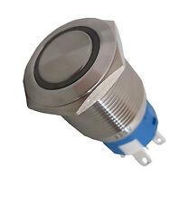 Edelstahl Drucktaster,Klingeltaster LED beleuchtet 19mmØ, WEIß  230 V AC/DC
