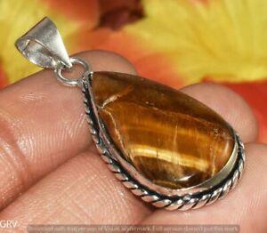 Tigers Eye Gemstone Handmade Pendant 925 Sterling Silver Plated U390-A150