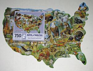 """AMERICAN WILDLIFE"" BEAR EAGLE DEER TURKEY MAP BITS and PIECES JIGSAW PUZZLE CIB"