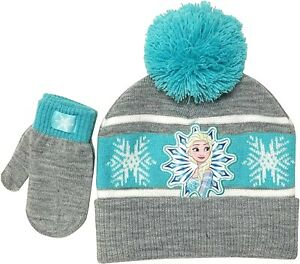 DISNEY FROZEN ELSA Knit Cuffed Beanie Winter Hat & Mittens Set w/ Pom-Pom