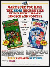 NOOZLES / JANOSCH The Storyteller__Original 1989 Trade print AD promo_koala bear