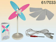 Desk Fan, Windmill - New - With USB Plug and 3 Micro Batteries