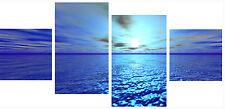 Large 4 Piece Set Split Panel Wall Art Canvas Pictures Pinnacle Blue Sea Prints