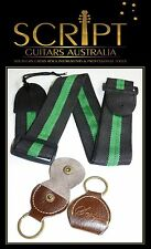 Royal Green Electric, Acoustic, Bass Guitar strap  + Leather pick holder keyring