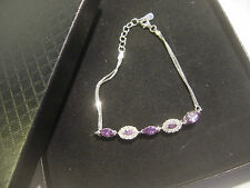 "SOLID SILVER PRETTY MARQUIS AMETHYST &WHITE SPARKLY STONES BRACELET 7"" BEST QUAL"