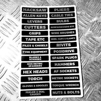 Workshop / garage storage drawer / tool labels - garage gear 50x stickers