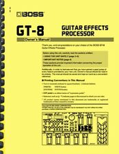 Boss GT-8 Guitar Effects Processor 3-in-1 OWNER'S MANUAL and SERVICE NOTES