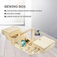 3 layer Sewing Kit Storage Box Case Thread Threader Needle Scissor Tape