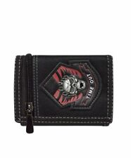 Men's Skull Tri-Fold Wallet Zipper Closure Photo Id Pocket Polyester