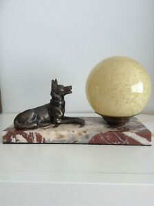Lamp Art Deco French vintage Bronze Dog gazing at globe moon on Marble Base.