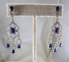 Fabulous White Gold Filled Sapphire Crystal Chandelier Earrings