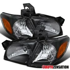 For 1997-2005 Chevy Venture Montana Trans Black Headlights+Amber Corner Lamps