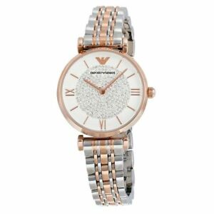 Emporio Armani AR1926 Silver Rose Gold Crystal Pave Dial Women's Watch