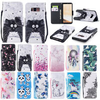 Housse Etui Coque Painted Motif Flip Portefeuille Case Cover Pour iPhone Samsung