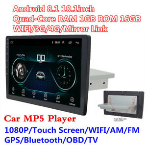 """Android 8.1 Single 1Din 10.1"""" Quad-Core Car Bluetooth GPS Radio Stereo Player"""
