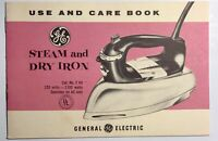 GE Steam and Dry Iron Owners Manual General Electric Use Book Vintage 1950s Care