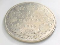 1912 Canada 25 Twenty Five Cent Silver Circulated Canadian George V Coin I505