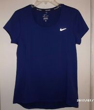 Nike Women's Dark Blue Dri Fit Training Running Shirt Sz M EC