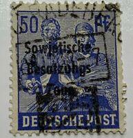 INTERESTING 1947 RADEBERG SON CANCEL ON GERMANY STAMP #10N13 SOVIET OVERPRINT