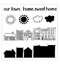 """12"""" x 12"""" Crafter's Workshop Painting Stencil Template ~ Our Town"""
