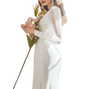 Satin Simple Forest Long Wedding White Dress Long Sleeve Sweet Skirt Clothe SZ L