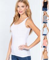 S M L Women's Lace Trim Scoop Neck Basic Tank Top Sleeveless Stretch Cotton Knit