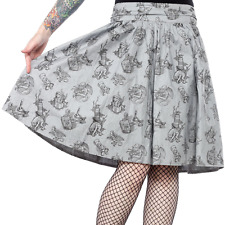 130722 Love Crafty Gray Swing Skirt Skirt Sourpuss Pinup Punk Rockabilly Medium