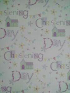 2 Sheets Of Christening Day Gift Wrapping Paper
