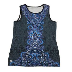 Athleta Tank Top Paisley Floral Print Boho Size Large M Athletic Workout Yoga