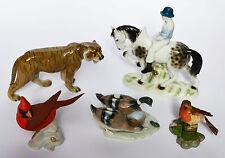 5 ältere Porzellanfiguren Vögel Tiger Ente Pferd Reiter beschädigt Höhe 8-19 cm