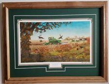 Framed John Deere  Combine tractor farm art print Russell Sonnenberg