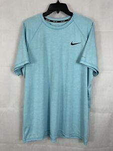Size XL Nike Swim Shirt Dri-Fit Blue Short Sleeve Athletic Tshirt UPF 40+
