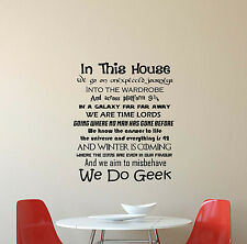 In This House We Do Geek Wall Decal Quote Gift Vinyl Sticker Poster Decor 631
