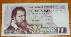 100 Francs, Bank of Belgium, 1964.