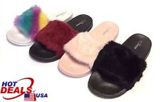 d65f101e4 Woman Faux Fur Slide Slippers Flats Flip Flops House Shoes Rubber Sandal  MulSize