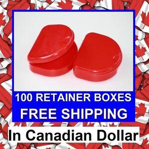 100 Red Denture Retainer Box Orthodontic Dental Case Mouth Ortho Brace Whitening
