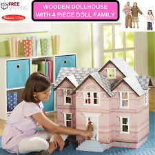 New Wooden Dollhouse With 4 Piece Doll Family Scale 1:12 For Play With Friends