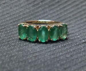 14K Gold Emerald Men Ring 4x6 mm Oval 3 Ct emerald Wedding Band Birthstone ring
