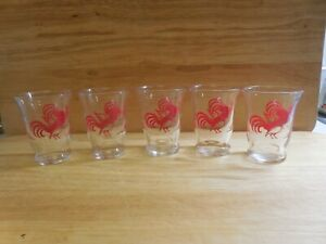Set of 5 Vintage Libbey Red Rooster 5 oz Juice glasses - Swanky Swigs