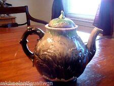 Antique Victorian Majolica Teapot with Leaf Motif