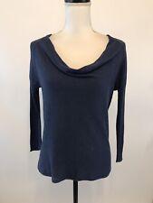 Eileen Fisher PS Blue Pullover Sweater Thin Knit Draped Neck Silk Linen Blend