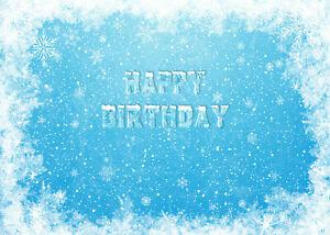 Happy Birthday Winter Snowflakes Icy Blue 7x5ft Backdrop Vinyl Photo Background