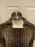Tory Burch Brown Tweed Wool Button-Up Jacket w/ Zip Shoulders, Size 0