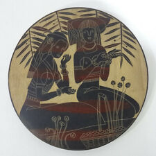 Hand Line Carved Painted ⌀30cm Wood Plate wall tabletop decor- Harvesting Season