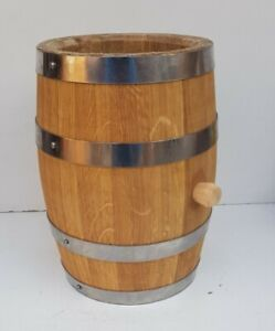 3 L Solid Oak Wooden Barrel Herb Flower Planter Pot For Garden Patio reclaimed