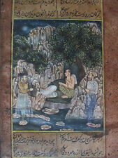 650 Yr Old Hand Painted w/SINGLE HAIR Brush  Sandscript Painting 5X9 RARE India