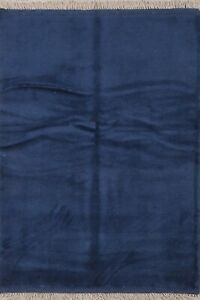 Soft Plush Blue Contemporary Gabbeh Area Rug Wool Hand-Knotted Modern Carpet 3x5
