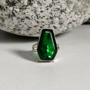 Emerald Ring Coffin Ring 925 Sterling Silver Plated Handmade Ring Size 7 mj68